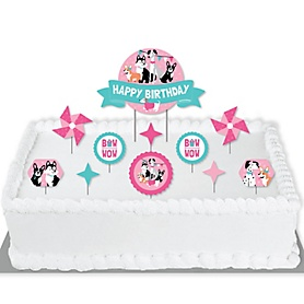 Pawty Like a Puppy Girl - Pink Dog Birthday Party Cake Decorating Kit - Happy Birthday Cake Topper Set - 11 Pieces