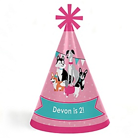 Pawty Like a Puppy Girl - Personalized Cone Happy Birthday Party Hats for Kids and Adults - Set of 8 (Standard Size)