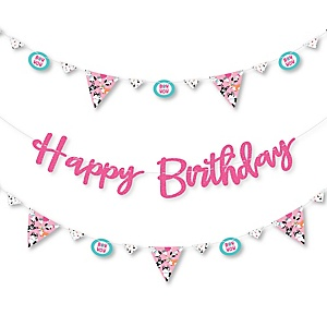 Pawty Like a Puppy Girl - Pink Dog Birthday Party Letter Banner Decoration - 36 Banner Cutouts and Happy Birthday Banner Letters