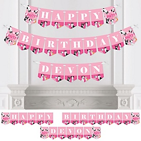 Pawty Like a Puppy Girl - Personalized Pink Dog Birthday Party Bunting Banner and Decorations