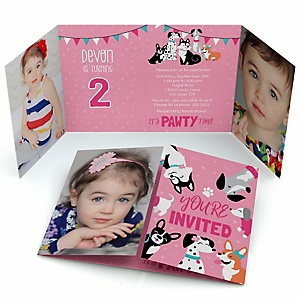 Pawty Like a Puppy Girl - Personalized Pink Dog Birthday Party Photo Invitations - Set of 12