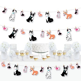 Pawty Like a Puppy Girl - Pink Dog Baby Shower or Birthday Party DIY Decorations - Clothespin Garland Banner - 44 Pieces