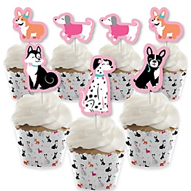Pawty Like a Puppy Girl - Cupcake Decoration - Pink Dog Baby Shower or Birthday Party Cupcake Wrappers and Treat Picks Kit - Set of 24