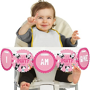 Pawty Like a Puppy Girl - 1st Birthday - I am One - First Birthday High Chair Banner