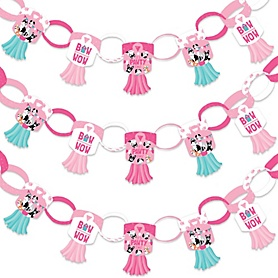 Pawty Like a Puppy Girl - 90 Chain Links and 30 Paper Tassels Decoration Kit - Pink Dog Baby Shower or Birthday Party Paper Chains Garland - 21 feet