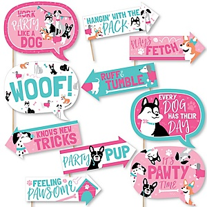 Funny Pawty Like a Puppy Girl - 10 Piece Pink Dog Baby Shower or Birthday Party Photo Booth Props Kit