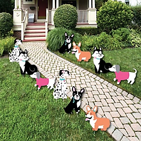Pawty Like a Puppy Girl - Lawn Decorations - Outdoor Pink Dog Baby Shower or Birthday Party Yard Decorations - 10 Piece