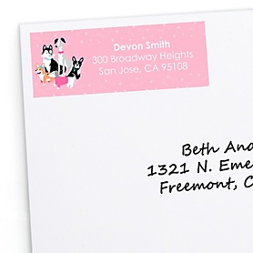 Pawty Like a Puppy Girl - Personalized Pink Dog Baby Shower or Birthday Party Return Address Labels - 30 ct