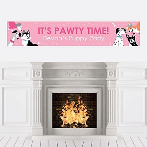 Pawty Like a Puppy Girl - Personalized Pink Dog Baby Shower or Birthday Party Banner