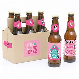 Pawty Like a Puppy Girl - 6 Pink Dog Baby Shower or Birthday Party Decorations for Women and Men - 6 Beer Bottle Label Stickers and 1 Carrier