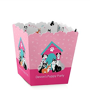 Pawty Like a Puppy Girl - Party Mini Favor Boxes - Personalized Pink Dog Baby Shower or Birthday Party Treat Candy Boxes - Set of 12