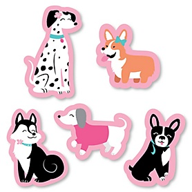 Pawty Like a Puppy Girl - DIY Shaped Pink Dog Baby Shower or Birthday Party Cut-Outs - 24 ct