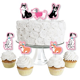 Pawty Like a Puppy Girl - Dessert Cupcake Toppers - Pink Dog Baby Shower or Birthday Party Clear Treat Picks - Set of 24