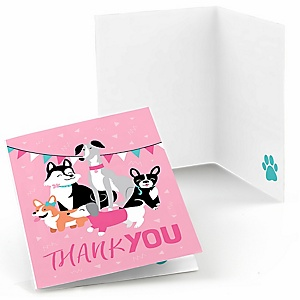 Pawty Like a Puppy Girl - Pink Dog Baby Shower or Birthday Party Thank You Cards  - 8 ct