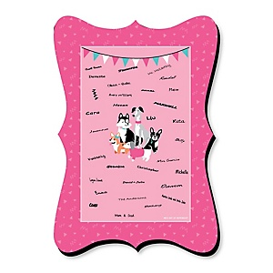Pawty Like a Puppy Girl - Unique Alternative Guest Book - Pink Dog Baby Shower or Birthday Party Signature Mat