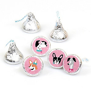 Pawty Like a Puppy Girl - Pink Dog Baby Shower or Birthday Party Round Candy Sticker Favors - Labels Fit Hershey's Kisses - 108 ct
