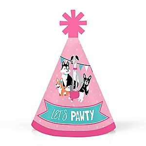 Pawty Like a Puppy Girl - Personalized Mini Cone Pink Dog Baby Shower or Birthday Party Hats - Small Little Party Hats - Set of 10