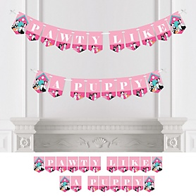 Pawty Like a Puppy Girl - Pink Dog Baby Shower or Birthday Party Bunting Banner - Party Decorations - Pawty Like A Puppy