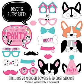 Pawty Like a Puppy Girl - 20 Piece Pink Dog Baby Shower or Birthday Party Photo Booth Props Kit