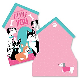 Pawty Like a Puppy Girl - Shaped Thank You Cards - Pink Dog Baby Shower or Birthday Party Thank You Note Cards with Envelopes - Set of 12