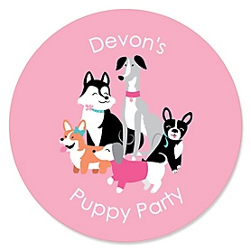 Pawty Like a Puppy Girl - Personalized Pink Dog Baby Shower or Birthday Party Sticker Labels - 24 ct