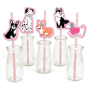 Pawty Like a Puppy Girl - Paper Straw Decor - Pink Dog Baby Shower or Birthday Party Striped Decorative Straws - Set of 24