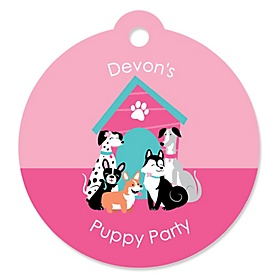 Pawty Like a Puppy Girl - Round Personalized Pink Dog Party Tags - 20 ct
