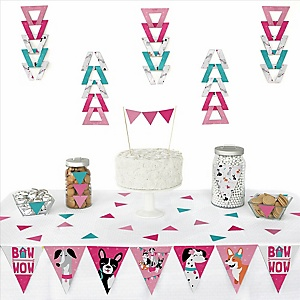 Pawty Like a Puppy Girl - Triangle Pink Dog Party Decoration Kit - 72 Piece