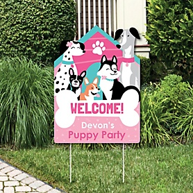 Pawty Like a Puppy Girl - Party Decorations - Pink Dog Baby Shower or Birthday Party Personalized Welcome Yard Sign