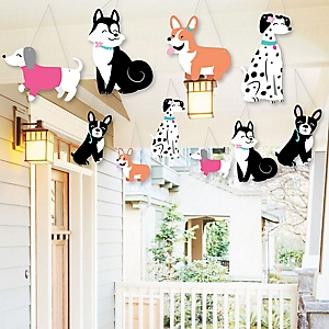 Hanging Pawty Like a Puppy Girl - Outdoor Pink Dog Baby Shower or Birthday Party Hanging Porch and Tree Yard Decorations - 10 Pieces