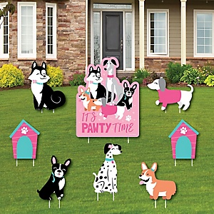 Pawty Like a Puppy Girl - Yard Sign and Outdoor Lawn Decorations - Pink Dog Baby Shower or Birthday Party Yard Signs - Set of 8