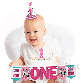 Pawty Like a Puppy Girl - 1st Birthday - First Birthday Girl Smash Cake Decorating Kit - High Chair Decorations
