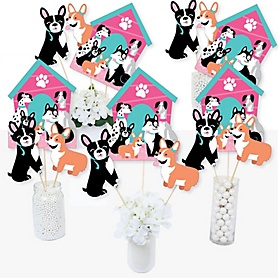 Pawty Like a Puppy Girl - Pink Dog Baby Shower or Birthday Party Centerpiece Sticks - Table Toppers - Set of 15