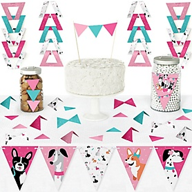 Pawty Like a Puppy Girl - DIY Pennant Banner Decorations - Pink Dog Baby Shower or Birthday Party Triangle Kit - 99 Pieces