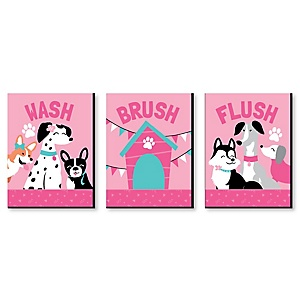 "Pawty Like a Puppy Girl - Kids Bathroom Rules Wall Art - 7.5"" x 10"" - Set of 3 Signs - Wash, Brush, Flush"