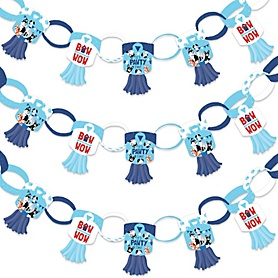 Pawty Like a Puppy - 90 Chain Links and 30 Paper Tassels Decoration Kit - Dog Baby Shower or Birthday Party Paper Chains Garland - 21 feet