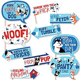 Funny Pawty Like a Puppy - 10 Piece Dog Baby Shower or Birthday Party Photo Booth Props Kit