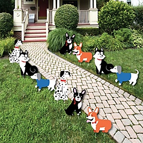 Pawty Like a Puppy - Lawn Decorations - Outdoor Dog Baby Shower or Birthday Party Yard Decorations - 10 Piece