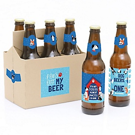Pawty Like a Puppy - 6 Dog Baby Shower or Birthday Party Decorations for Women and Men - 6 Beer Bottle Label Stickers and 1 Carrier