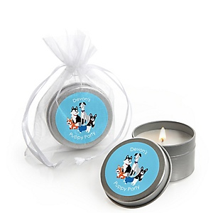 Pawty Like a Puppy - Dog - Personalized Party Candle Tin Favors - Set of 12