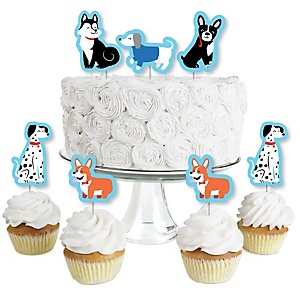 Pawty Like a Puppy - Dessert Cupcake Toppers - Dog Baby Shower or Birthday Party Clear Treat Picks - Set of 24