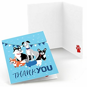 Pawty Like a Puppy - Dog Baby Shower or Birthday Party Thank You Cards  - 8 ct