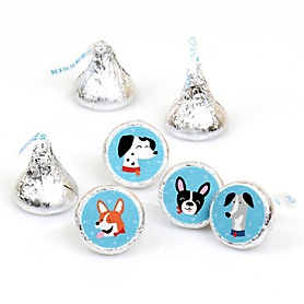 Pawty Like a Puppy - Dog Baby Shower or Birthday Party Round Candy Sticker Favors - Labels Fit Hershey's Kisses - 108 ct