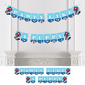 Pawty Like a Puppy - Dog Baby Shower or Birthday Party Bunting Banner - Party Decorations - Pawty Like A Puppy