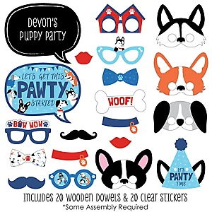 Pawty Like a Puppy - 20 Piece Dog Baby Shower or Birthday Party Photo Booth Props Kit