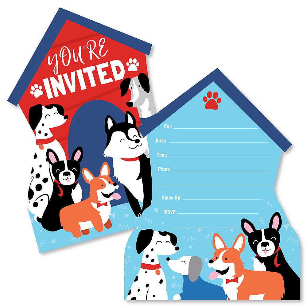 Pawty Like A Puppy Shaped Fill In Invitations Dog Baby Shower Or Birthday Party Invitation Cards With Envelopes Set Of 12