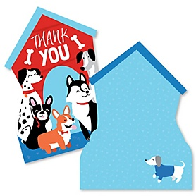 Pawty Like a Puppy - Shaped Thank You Cards - Dog Baby Shower or Birthday Party Thank You Note Cards with Envelopes - Set of 12