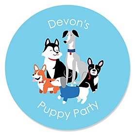 Pawty Like a Puppy - Personalized Dog Baby Shower or Birthday Party Sticker Labels - 24 ct