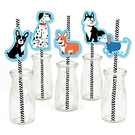 Pawty Like a Puppy - Paper Straw Decor - Dog Baby Shower or Birthday Party Striped Decorative Straws - Set of 24