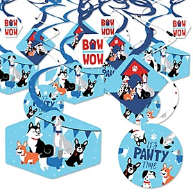 Pawty Like a Puppy - Dog Baby Shower or Birthday Party Hanging Decor - Party Decoration Swirls - Set of 40